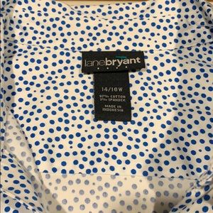 Cap sleeve blue and white polka dot blouse